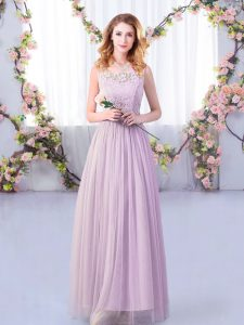Suitable Lavender Side Zipper Scoop Lace and Belt Quinceanera Dama Dress Tulle Sleeveless
