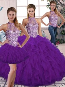 Purple Ball Gown Prom Dress Military Ball and Sweet 16 and Quinceanera with Beading and Ruffles Halter Top Sleeveless Lace Up