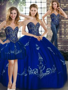 Floor Length Lace Up 15 Quinceanera Dress Royal Blue for Military Ball and Sweet 16 and Quinceanera with Beading and Embroidery