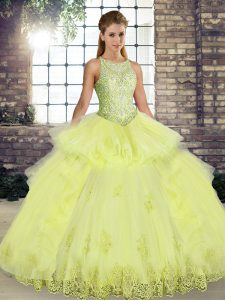 High Class Yellow Lace Up Scoop Lace and Embroidery and Ruffles Quinceanera Dress Tulle Sleeveless