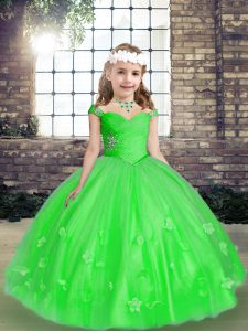 Sleeveless Tulle Floor Length Lace Up Little Girls Pageant Gowns in Green with Beading and Hand Made Flower