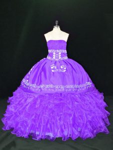 Unique Lavender Ball Gowns Organza Strapless Sleeveless Embroidery and Ruffles Floor Length Lace Up Quinceanera Gowns