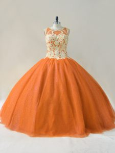 Fabulous Orange 15th Birthday Dress Sweet 16 and Quinceanera with Beading and Appliques Scoop Sleeveless Lace Up