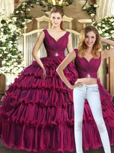 Best Burgundy Organza Backless V-neck Sleeveless Floor Length Vestidos de Quinceanera Beading and Ruffled Layers