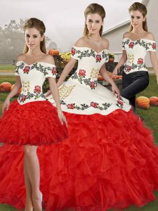 Noble White And Red Off The Shoulder Neckline Embroidery and Ruffles Quinceanera Gowns Sleeveless Lace Up