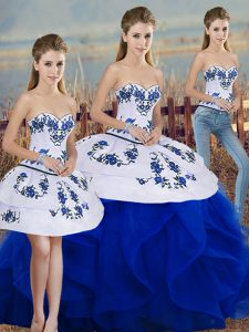 Royal Blue Three Pieces Sweetheart Sleeveless Tulle Floor Length Lace Up Embroidery and Ruffles and Bowknot Quinceanera Dress