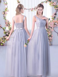 Fancy Grey Empire V-neck Sleeveless Tulle Floor Length Side Zipper Lace and Belt Damas Dress