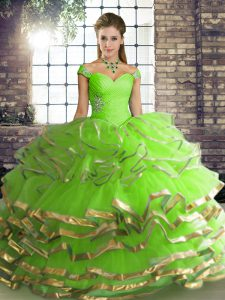 Off The Shoulder Sleeveless Quince Ball Gowns Floor Length Beading and Ruffled Layers Tulle