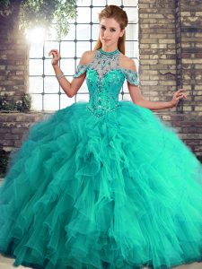 Admirable Turquoise Sleeveless Beading and Ruffles Floor Length 15th Birthday Dress