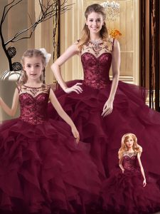 Sleeveless Tulle Brush Train Lace Up Quinceanera Dress in Burgundy with Beading and Ruffles