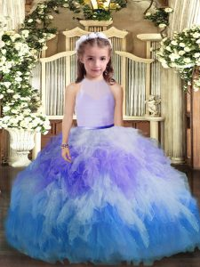 Multi-color Tulle Backless Little Girls Pageant Dress Wholesale Sleeveless Floor Length Ruffles