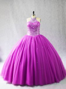 Sleeveless Tulle Brush Train Lace Up Sweet 16 Dresses in Lilac with Beading