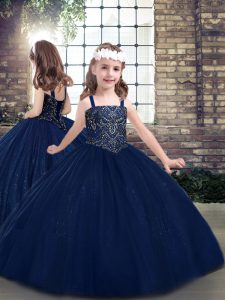 Exquisite Navy Blue Lace Up Straps Beading Little Girl Pageant Gowns Tulle Sleeveless