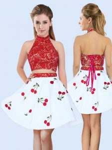 Inexpensive Sleeveless Mini Length Lace and Pattern Lace Up Dama Dress for Quinceanera with White And Red