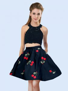 Charming Black Halter Top Lace Up Pattern Vestidos de Damas Sleeveless