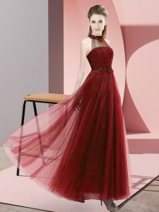 Fine Wine Red Sleeveless Floor Length Beading and Appliques Lace Up Dama Dress