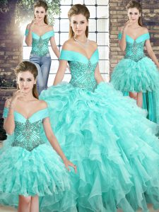 Off The Shoulder Sleeveless Brush Train Lace Up Quinceanera Gown Aqua Blue Organza