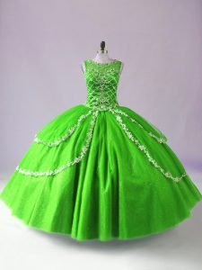Ideal Floor Length Green 15 Quinceanera Dress Tulle Sleeveless Beading and Appliques