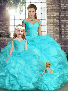 Aqua Blue Off The Shoulder Neckline Beading and Ruffles Sweet 16 Dresses Sleeveless Lace Up