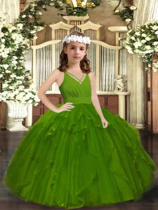 Stunning Straps Sleeveless Pageant Dress Wholesale Floor Length Ruffles Olive Green Tulle