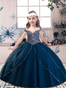 Most Popular Navy Blue Pageant Dress for Teens Party and Sweet 16 and Wedding Party with Beading Sleeveless Lace Up