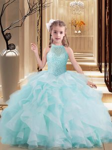 Best Light Blue Sleeveless Brush Train Beading and Ruffles Kids Pageant Dress