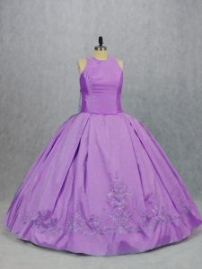 Lovely Sleeveless Taffeta Floor Length Zipper Sweet 16 Dresses in Lilac with Embroidery