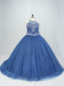 Navy Blue Tulle Lace Up Quinceanera Gown Sleeveless Brush Train Beading