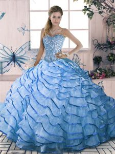 Beading and Ruffles Quinceanera Gown Blue Lace Up Sleeveless Brush Train