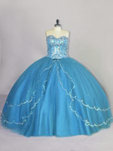 Super Ball Gowns Sleeveless Blue Quinceanera Dress Brush Train Lace Up