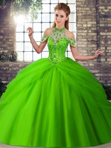 Tulle Sleeveless Quinceanera Dress Brush Train and Beading and Pick Ups