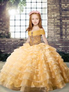 Dazzling Orange Straps Neckline Beading and Ruffled Layers Little Girl Pageant Gowns Sleeveless Lace Up