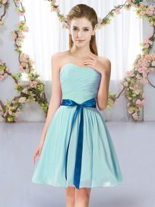 Edgy Sweetheart Sleeveless Lace Up Quinceanera Court of Honor Dress Aqua Blue Chiffon