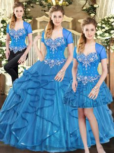 Chic Blue Sweetheart Neckline Beading and Ruffles Sweet 16 Dress Sleeveless Lace Up