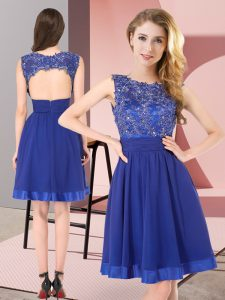 Glittering Empire Dama Dress for Quinceanera Royal Blue Scoop Chiffon Sleeveless Mini Length Backless