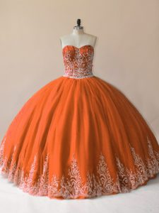 High End Sleeveless Lace Up Floor Length Embroidery Vestidos de Quinceanera