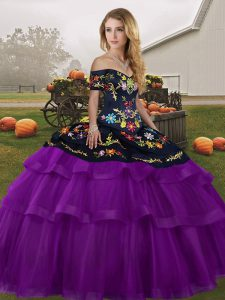 Admirable Black And Purple Quince Ball Gowns Military Ball and Sweet 16 and Quinceanera with Embroidery and Ruffled Layers Off The Shoulder Sleeveless Brush Train Lace Up