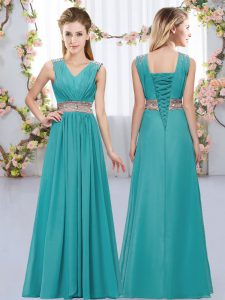 Custom Fit Floor Length Teal Quinceanera Dama Dress Chiffon Sleeveless Beading and Belt