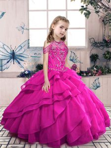 Eye-catching Beading and Ruffles Pageant Dress Wholesale Fuchsia Lace Up Sleeveless Floor Length
