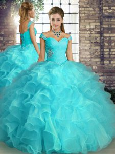Aqua Blue Sleeveless Floor Length Beading and Ruffles Lace Up Quinceanera Gown