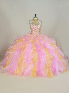 New Style Sleeveless Beading and Ruffles Lace Up Quinceanera Gowns