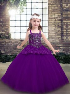Purple Ball Gowns Tulle Straps Sleeveless Beading Floor Length Lace Up Pageant Gowns For Girls
