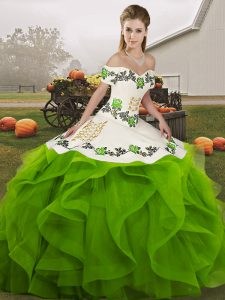 Green Ball Gowns Embroidery and Ruffles Vestidos de Quinceanera Lace Up Tulle Sleeveless Floor Length