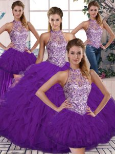 High Quality Tulle Sleeveless Floor Length Sweet 16 Quinceanera Dress and Beading and Ruffles