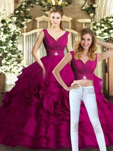 Romantic Fuchsia Two Pieces Organza V-neck Sleeveless Beading and Ruffles Floor Length Backless Quinceanera Gowns