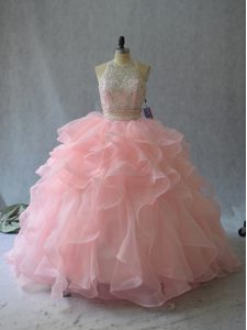 Peach Two Pieces Halter Top Sleeveless Organza Backless Beading and Ruffles 15 Quinceanera Dress