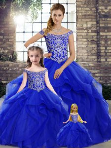 Lovely Royal Blue Sweet 16 Quinceanera Dress Tulle Brush Train Sleeveless Beading and Ruffles