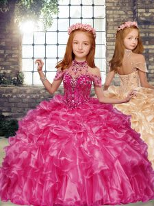 High-neck Sleeveless Little Girls Pageant Gowns Floor Length Beading and Ruffles Hot Pink Organza