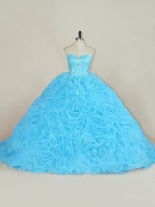 Wonderful Baby Blue Lace Up Quinceanera Gowns Beading and Ruffles Sleeveless Floor Length Court Train