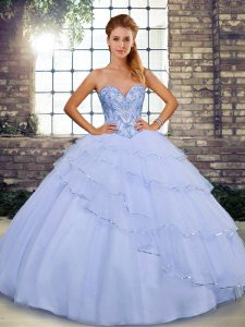 Flare Lavender Quinceanera Gowns Sweetheart Sleeveless Brush Train Lace Up